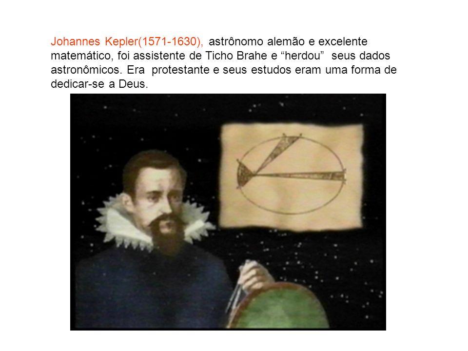 Johannes Kepler(1571-1630), astrônomo alemão e excelente matemático, foi assistente de Ticho Brahe e herdou seus dados astronômicos. Era protestante e