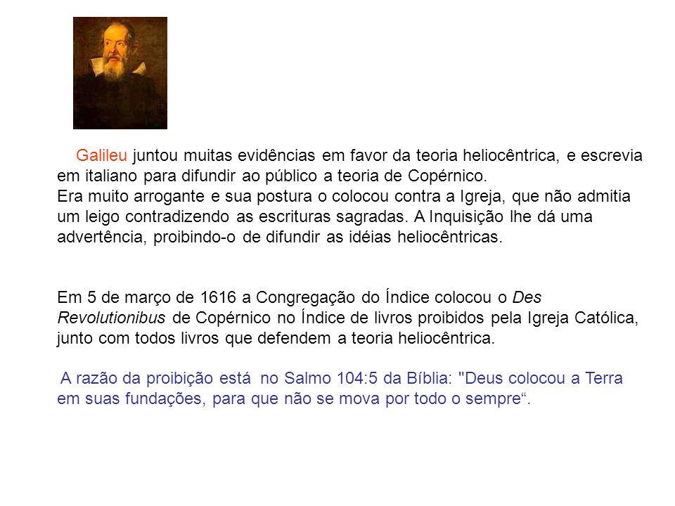 Galileu juntou muitas evidências em favor da teoria heliocêntrica, e escrevia em italiano para difundir ao público a teoria de Copérnico. Era muito ar