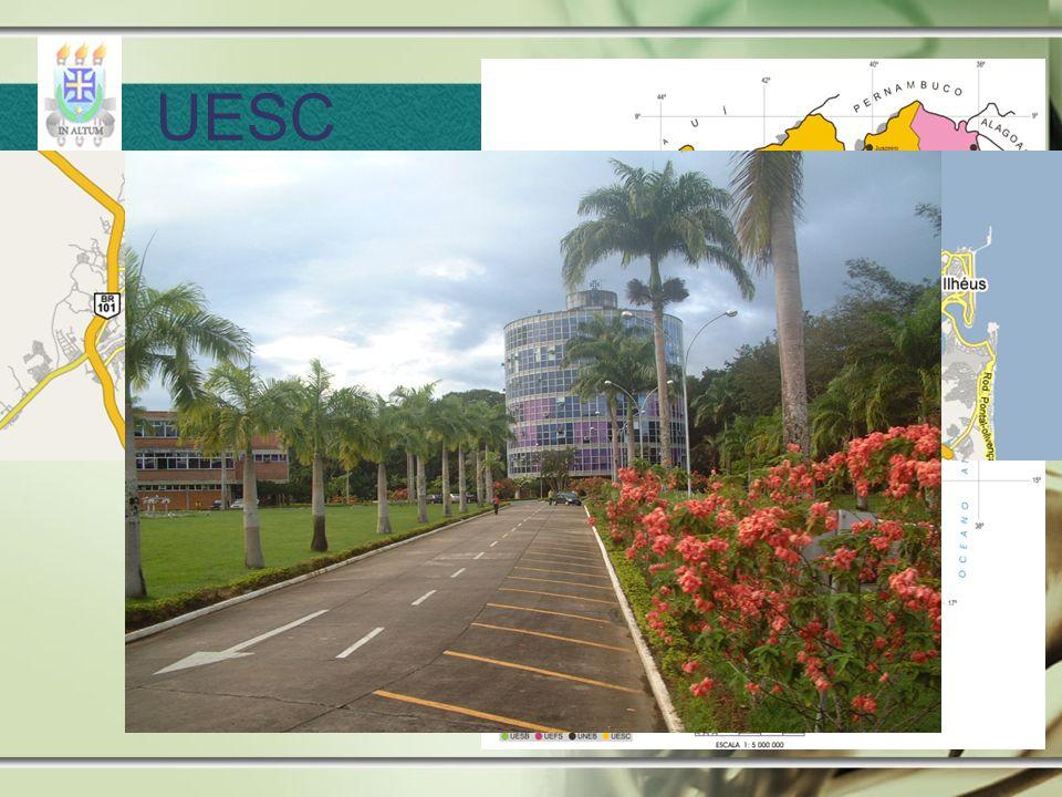 26 cursos de graduação 07 Mestrados 01 doutorado Aprox. 500 professores e 6000 alunos UESC