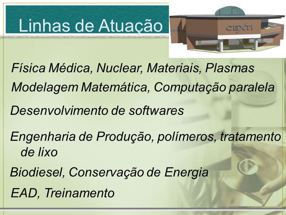 Física Médica, Nuclear, Materiais, Plasmas Linhas de Atuação Desenvolvimento de softwares Biodiesel, Conservação de Energia EAD, Treinamento Engenharia de Produção, polímeros, tratamento de lixo Modelagem Matemática, Computação paralela