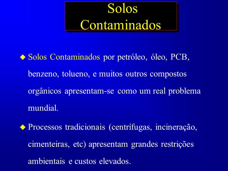 Solos Contaminados u Solos Contaminados por petróleo, óleo, PCB, benzeno, tolueno, e muitos outros compostos orgânicos apresentam-se como um real prob