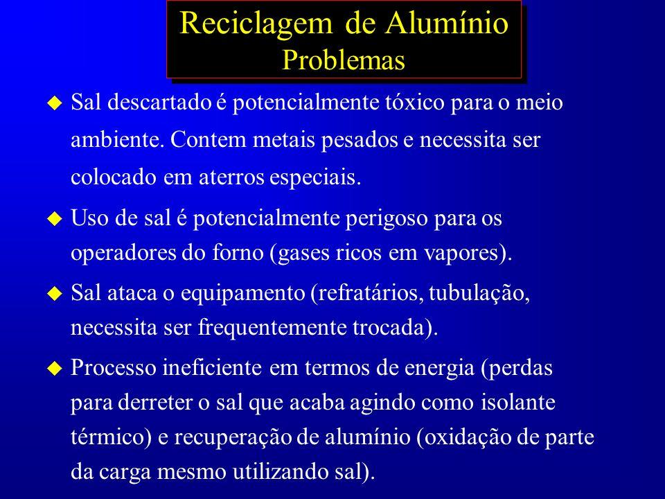 Reciclagem de Alumínio Problemas u Sal descartado é potencialmente tóxico para o meio ambiente. Contem metais pesados e necessita ser colocado em ater