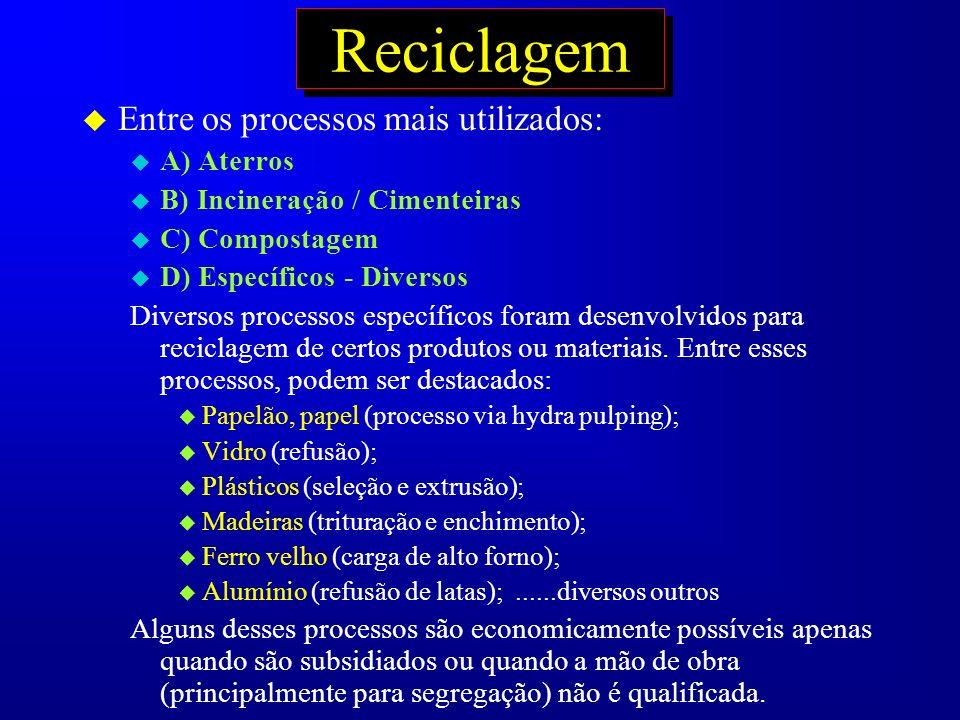 Reciclagem u Entre os processos mais utilizados: u A) Aterros u B) Incineração / Cimenteiras u C) Compostagem u D) Específicos - Diversos Diversos pro