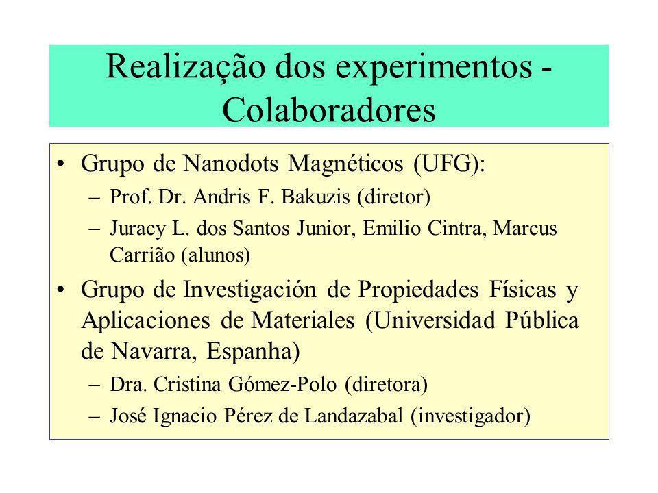 Realização dos experimentos - Colaboradores Grupo de Nanodots Magnéticos (UFG): –Prof. Dr. Andris F. Bakuzis (diretor) –Juracy L. dos Santos Junior, E