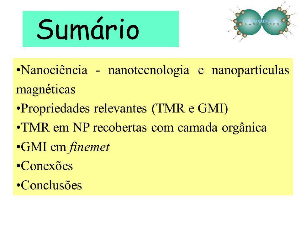 Sumário Nanociência - nanotecnologia e nanopartículas magnéticas Propriedades relevantes (TMR e GMI) TMR em NP recobertas com camada orgânica GMI em f