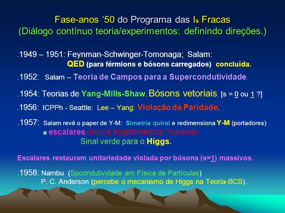 Fase-anos 50 do Programa das I s Fracas (Diálogo contínuo teoria/experimentos: definindo direções.). 1949 – 1951: Feynman-Schwinger-Tomonaga; Salam: Q