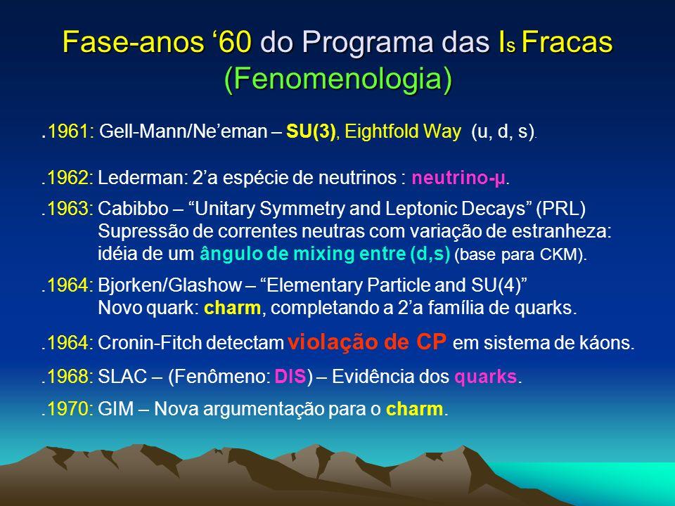 Fase-anos 60 do Programa das I s Fracas (Fenomenologia). 1961: Gell-Mann/Neeman – SU(3), Eightfold Way (u, d, s)..1962: Lederman: 2a espécie de neutri