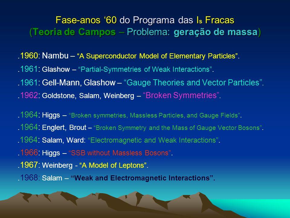 Fase-anos 60 do Programa das I s Fracas (Teoria de Campos – Problema: geração de massa).1960: Nambu – A Superconductor Model of Elementary Particles..1961: Glashow – Partial-Symmetries of Weak Interactions..1961: Gell-Mann, Glashow – Gauge Theories and Vector Particles..1962: Goldstone, Salam, Weinberg – Broken Symmetries..1964: Higgs – Broken symmetries, Massless Particles, and Gauge Fields..1964: Englert, Brout – Broken Symmetry and the Mass of Gauge Vector Bosons..