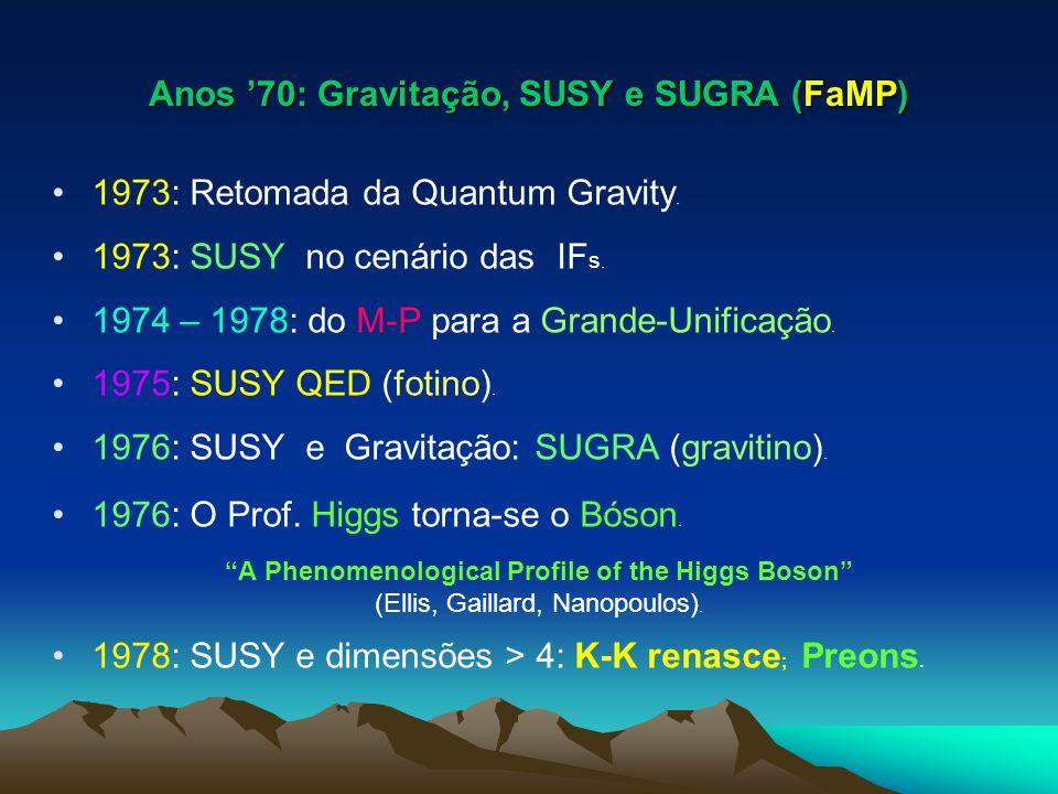Anos 70: Gravitação, SUSY e SUGRA (FaMP) 1973: Retomada da Quantum Gravity. 1973: SUSY no cenário das IF s. 1974 – 1978: do M-P para a Grande-Unificaç