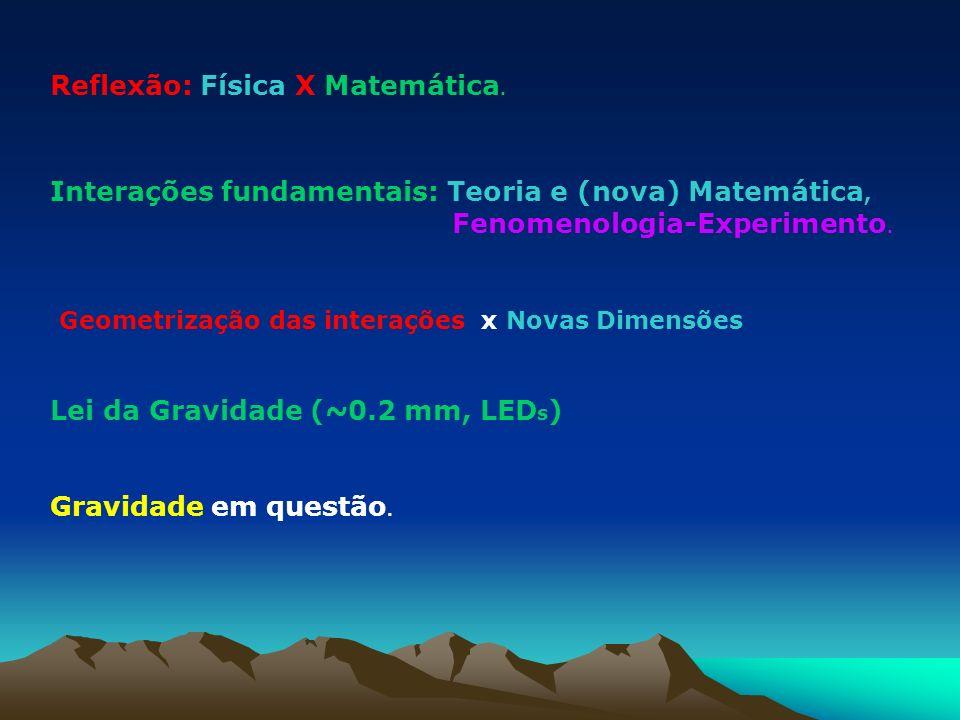 Reflexão: Física X Matemática. Interações fundamentais: Teoria e (nova) Matemática, Fenomenologia-Experimento. Geometrização das interações x Novas Di