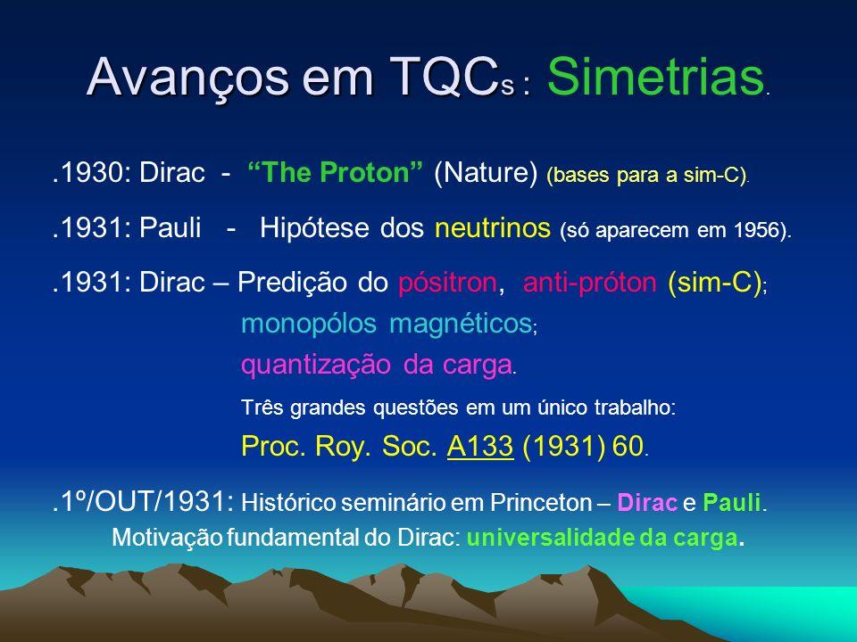 Avanços em TQC s : Avanços em TQC s : Simetrias..1930: Dirac - The Proton (Nature) (bases para a sim-C)..1931: Pauli - Hipótese dos neutrinos (só aparecem em 1956)..1931: Dirac – Predição do pósitron, anti-próton (sim-C) ; monopólos magnéticos ; quantização da carga.