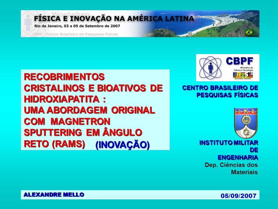 ALEXANDRE MELLO 05/09/2007 RECOBRIMENTOS CRISTALINOS E BIOATIVOS DE HIDROXIAPATITA : UMA ABORDAGEM ORIGINAL COM MAGNETRON SPUTTERING EM ÂNGULO RETO (R