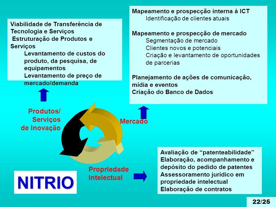 Propriedade Intelectual Mercado Produtos/ Serviços de Inovação Viabilidade de Transferência de Tecnologia e Serviços Estruturação de Produtos e Serviç