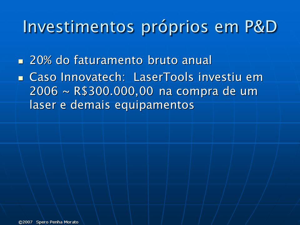 ©2007 Spero Penha Morato Investimentos próprios em P&D 20% do faturamento bruto anual 20% do faturamento bruto anual Caso Innovatech: LaserTools investiu em 2006 ~ R$300.000,00 na compra de um laser e demais equipamentos Caso Innovatech: LaserTools investiu em 2006 ~ R$300.000,00 na compra de um laser e demais equipamentos