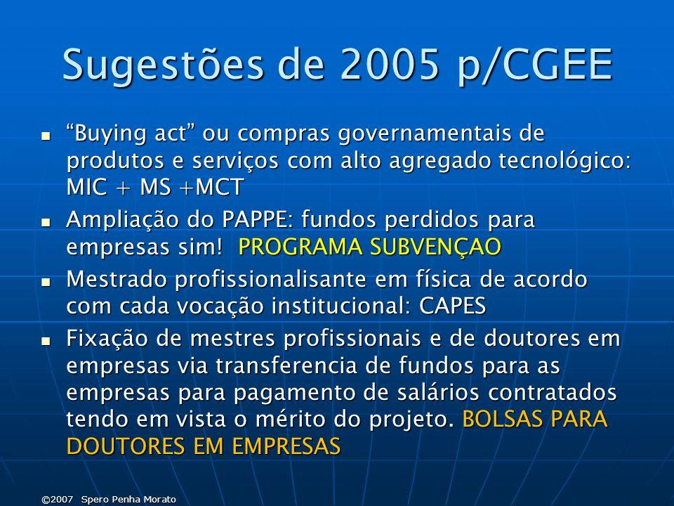 Sugestões de 2005 p/CG EE Buying act ou compras governamentais de produtos e serviços com alto agregado tecnológico: MIC + MS +MCT Buying act ou compras governamentais de produtos e serviços com alto agregado tecnológico: MIC + MS +MCT Ampliação do PAPPE: fundos perdidos para empresas sim.