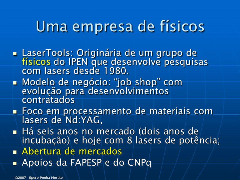 ©2007 Spero Penha Morato Uma empresa de físicos LaserTools: Originária de um grupo de físicos do IPEN que desenvolve pesquisas com lasers desde 1980.