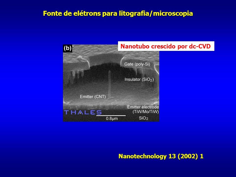 Nanotubo crescido por dc-CVD Fonte de elétrons para litografia/microscopia Nanotechnology 13 (2002) 1