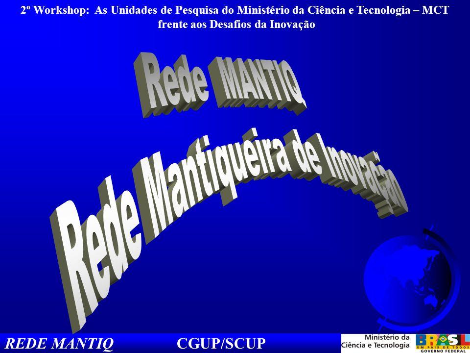 REDE MANTIQ CGUP/SCUP 2º Workshop: As Unidades de Pesquisa do Ministério da Ciência e Tecnologia – MCT frente aos Desafios da Inovação