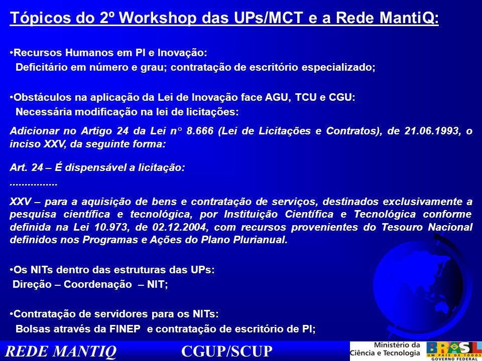 REDE MANTIQ CGUP/SCUP Tópicos do 2º Workshop das UPs/MCT e a Rede MantiQ: Recursos Humanos em PI e Inovação: Deficitário em número e grau; contratação de escritório especializado; Obstáculos na aplicação da Lei de Inovação face AGU, TCU e CGU: Necessária modificação na lei de licitações: Adicionar no Artigo 24 da Lei n° 8.666 (Lei de Licitações e Contratos), de 21.06.1993, o inciso XXV, da seguinte forma: Art.