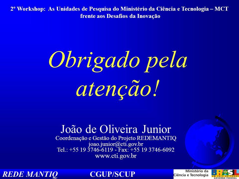 REDE MANTIQ CGUP/SCUP João de Oliveira Junior Coordenação e Gestão do Projeto REDEMANTIQ joao.junior@cti.gov.br Tel.: +55 19 3746-6119 - Fax: +55 19 3