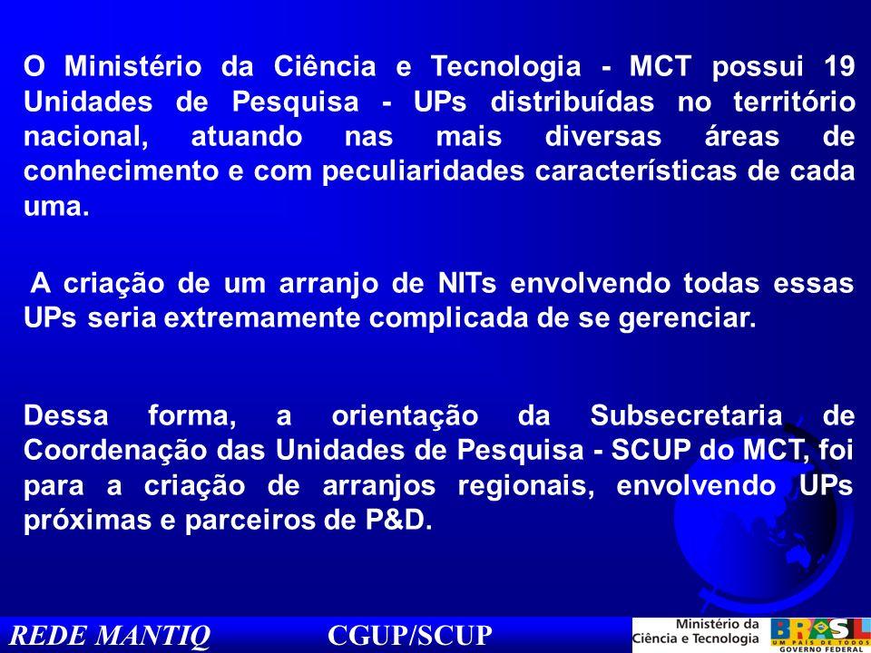 REDE MANTIQ CGUP/SCUP O Ministério da Ciência e Tecnologia - MCT possui 19 Unidades de Pesquisa - UPs distribuídas no território nacional, atuando nas mais diversas áreas de conhecimento e com peculiaridades características de cada uma.