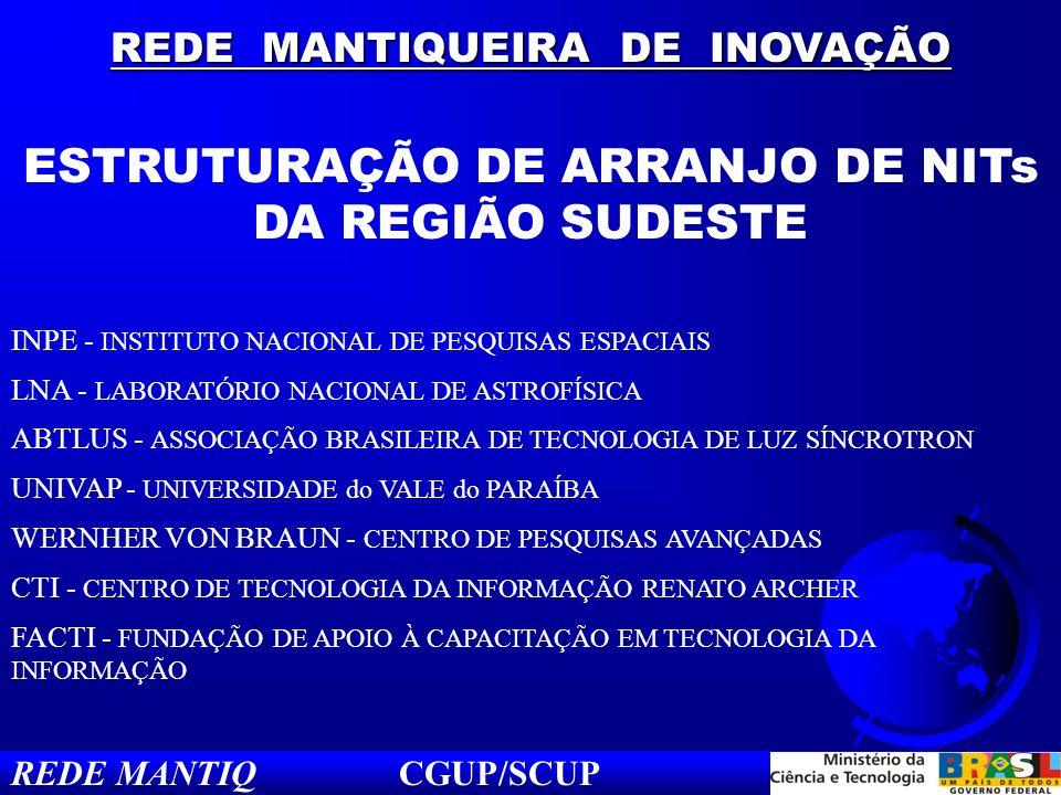 REDE MANTIQUEIRA DE INOVAÇÃO ESTRUTURAÇÃO DE ARRANJO DE NITs DA REGIÃO SUDESTE INPE - INSTITUTO NACIONAL DE PESQUISAS ESPACIAIS LNA - LABORATÓRIO NACI