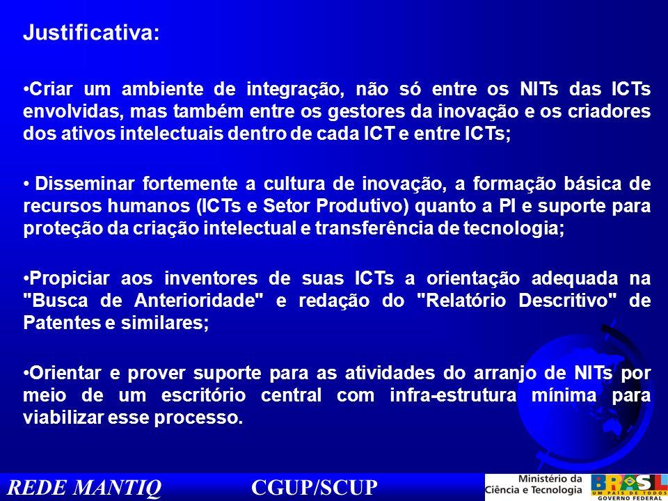 REDE MANTIQ CGUP/SCUP Justificativa: Criar um ambiente de integração, não só entre os NITs das ICTs envolvidas, mas também entre os gestores da inovaç
