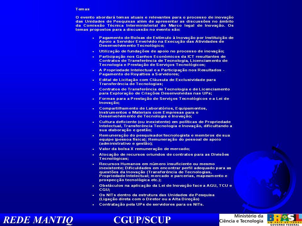 Tópicos do 2º Workshop das UPs/MCT e a Rede MantiQ: No âmbito da Rede MantiQ, as ICTs elaboraram uma série de Resoluções que abrangem os temas propostos: Pagamento de Bolsas de Estímulo á Inovação: Com % da remuneração do servidor e dedicação limitada até X horas semanais; Utilização de Fundações de Apoio: Utilização plena ou sempre que possível; Participação nos ganhos da ICT em contratos de transf.