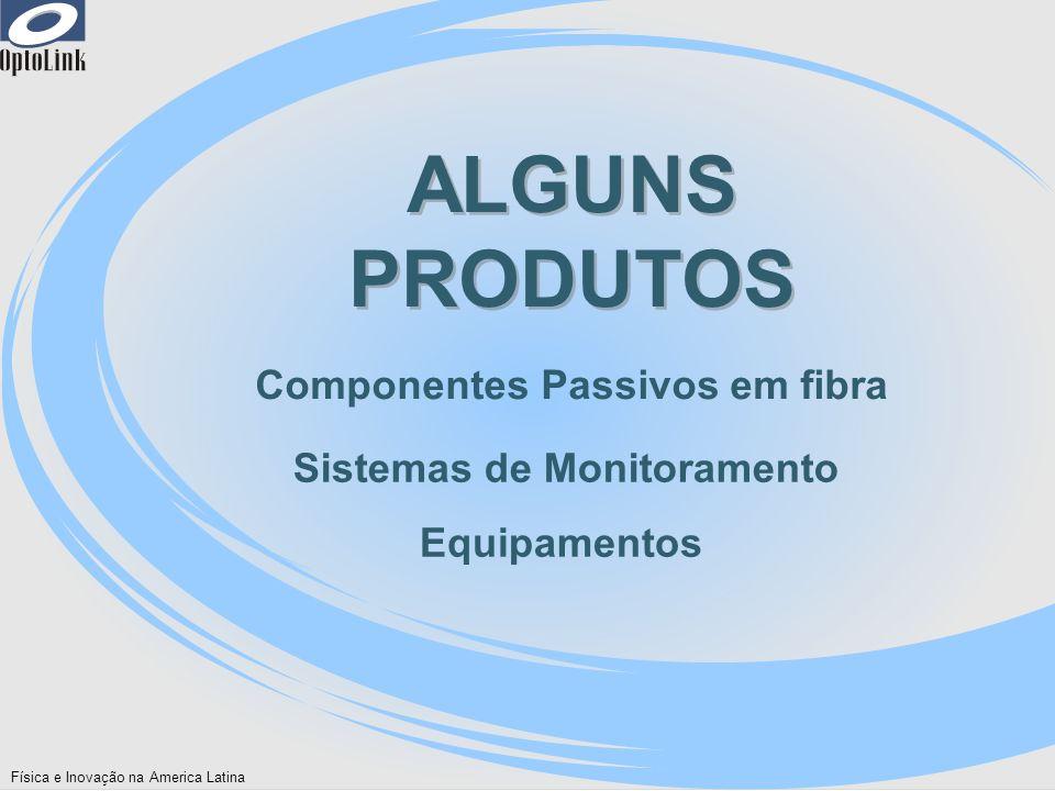 Física e Inovação na America Latina ALGUNS PRODUTOS Componentes Passivos em fibra Sistemas de Monitoramento Equipamentos