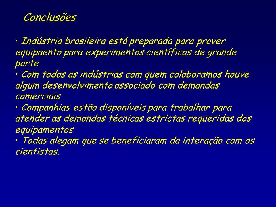 Conclusões Indústria brasileira está preparada para prover equipaento para experimentos científicos de grande porte Com todas as indústrias com quem c