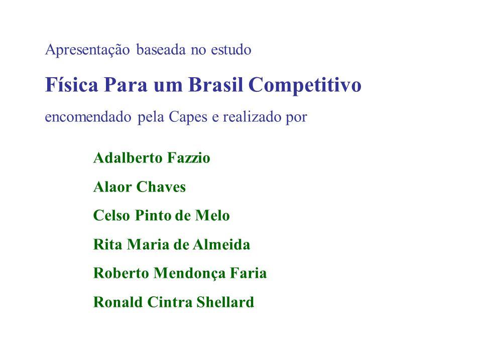 Apresentação baseada no estudo Física Para um Brasil Competitivo encomendado pela Capes e realizado por Adalberto Fazzio Alaor Chaves Celso Pinto de M