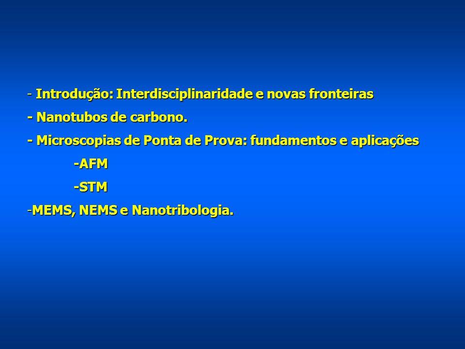 - Introdução: Interdisciplinaridade e novas fronteiras - Nanotubos de carbono. - Microscopias de Ponta de Prova: fundamentos e aplicações -AFM-STM -ME