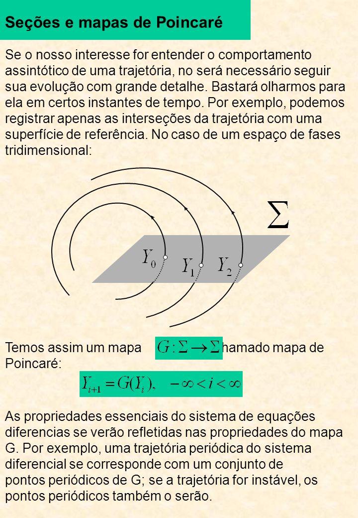 Seções e mapas de Poincaré Se o nosso interesse for entender o comportamento assintótico de uma trajetória, no será necessário seguir sua evolução com