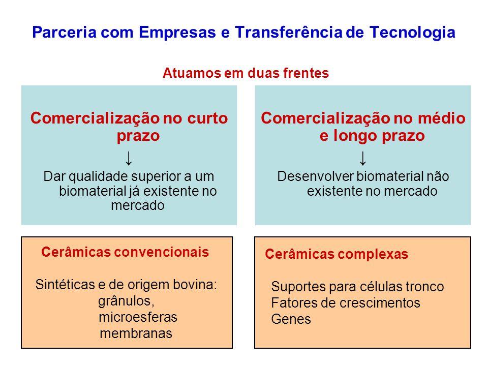 Parceria com Empresas e Transferência de Tecnologia Comercialização no curto prazo Dar qualidade superior a um biomaterial já existente no mercado Com