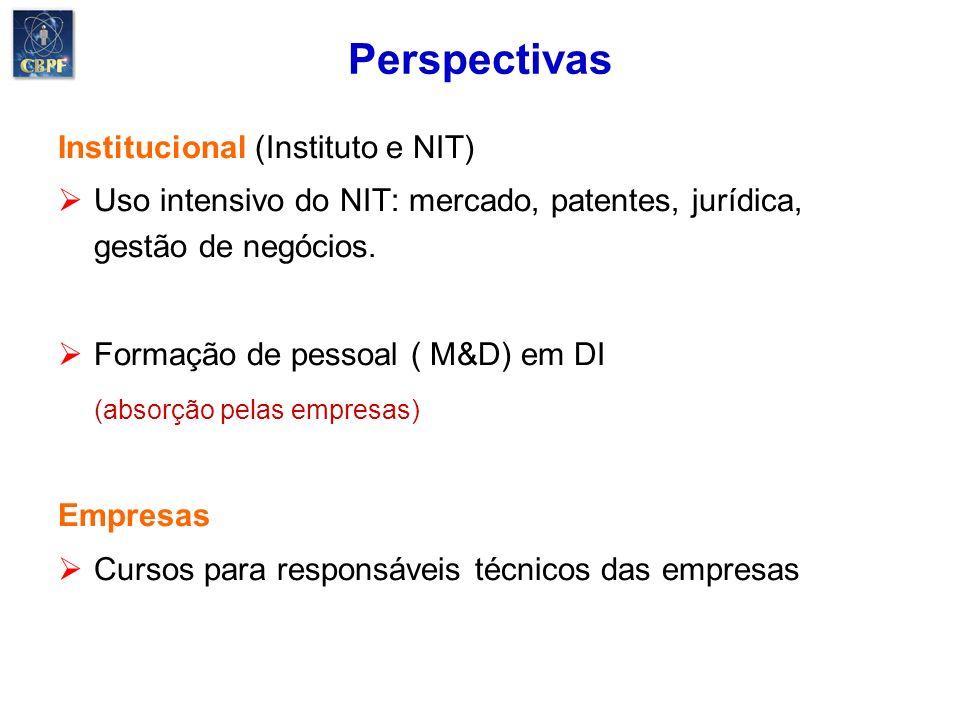 Perspectivas Institucional (Instituto e NIT) Uso intensivo do NIT: mercado, patentes, jurídica, gestão de negócios. Formação de pessoal ( M&D) em DI (