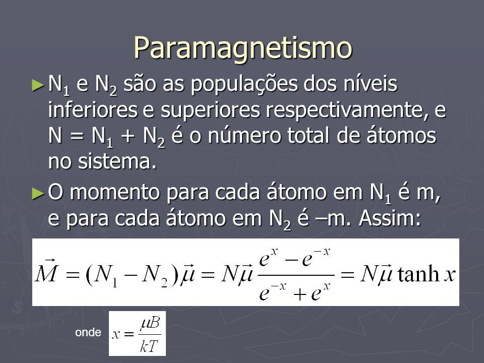 Paramagnetismo N 1 e N 2 são as populações dos níveis inferiores e superiores respectivamente, e N = N 1 + N 2 é o número total de átomos no sistema.