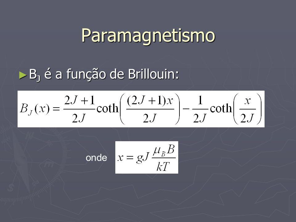 Paramagnetismo B J é a função de Brillouin: B J é a função de Brillouin: onde