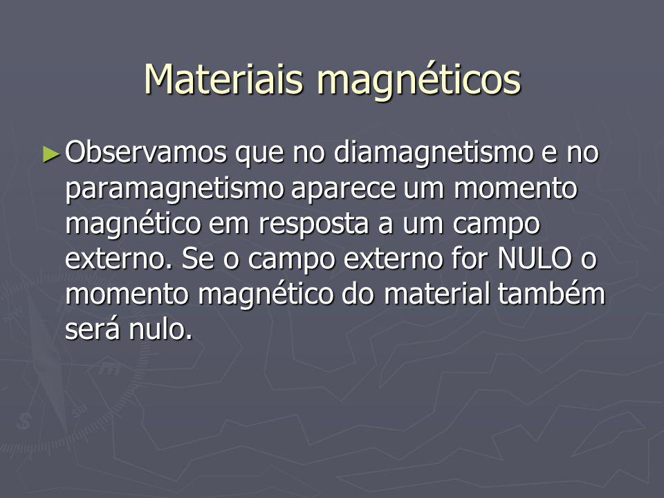 Materiais magnéticos Observamos que no diamagnetismo e no paramagnetismo aparece um momento magnético em resposta a um campo externo. Se o campo exter