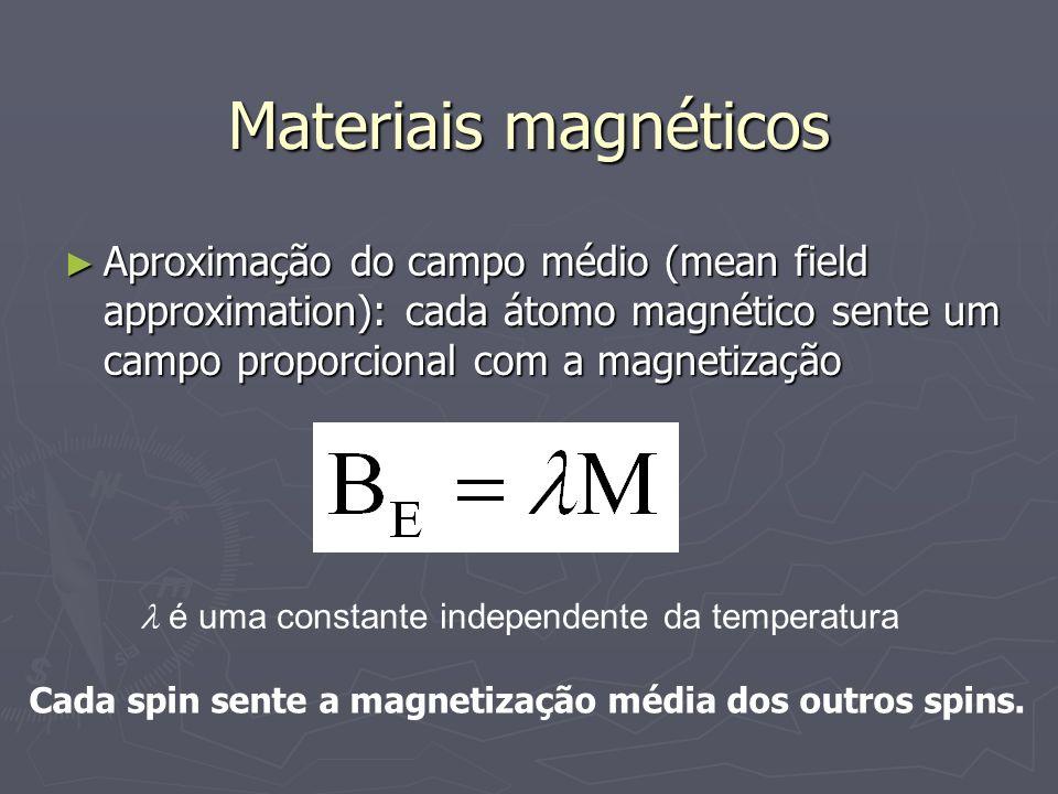 Materiais magnéticos Aproximação do campo médio (mean field approximation): cada átomo magnético sente um campo proporcional com a magnetização Aproxi