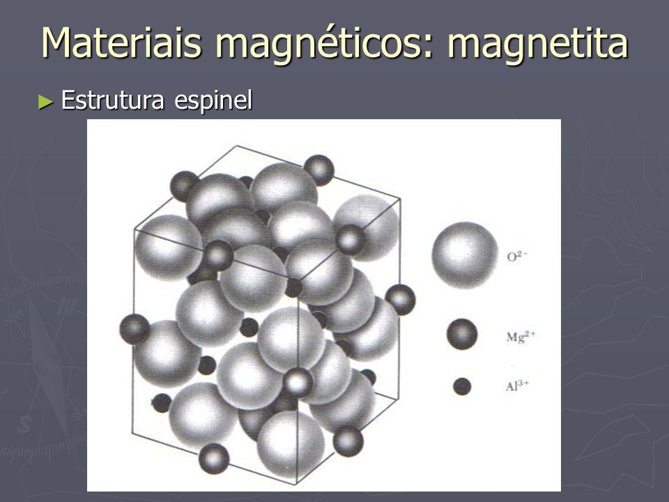 Materiais magnéticos: magnetita Estrutura espinel Estrutura espinel