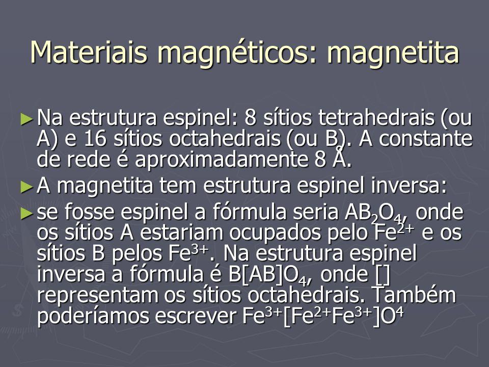 Materiais magnéticos: magnetita Na estrutura espinel: 8 sítios tetrahedrais (ou A) e 16 sítios octahedrais (ou B). A constante de rede é aproximadamen