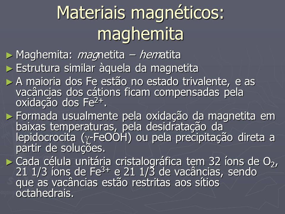 Materiais magnéticos: maghemita Maghemita: magnetita – hematita Maghemita: magnetita – hematita Estrutura similar àquela da magnetita Estrutura simila