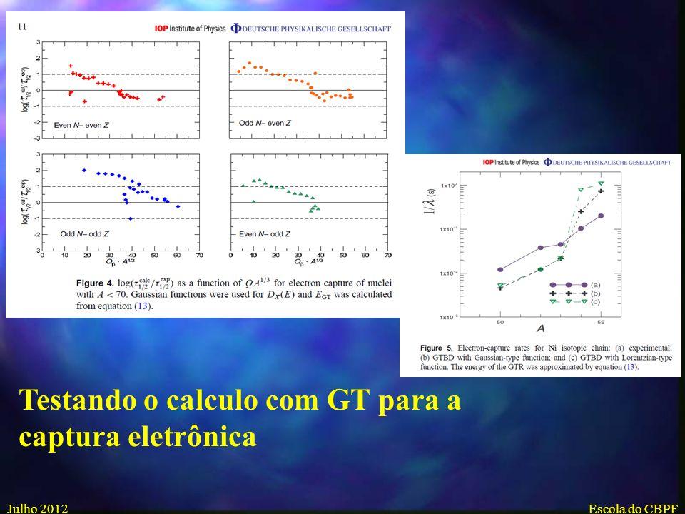 Julho 2012Escola do CBPF Testando o calculo para o decaimento-β