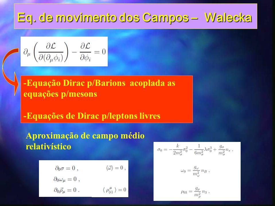 Julho 2012Escola do CBPF Incluir o setor leptônico compatível com osIncluir o setor leptônico compatível com os processos de interação fraca envolvendo barios processos de interação fraca envolvendo barios Incluir neutralidade de carga elétrica eIncluir neutralidade de carga elétrica e e equílibrio beta como vínculos para os e equílibrio beta como vínculos para os potenciais químicos barionicos e leptonicos potenciais químicos barionicos e leptonicos Neutralidade de carga eletrica
