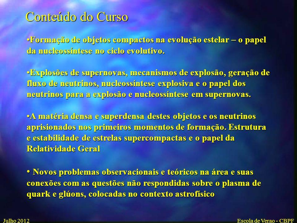 Julho 2012Escola do CBPF Formação e estrutura de objetos estelares compactos Sergio B. Duarte CBPF