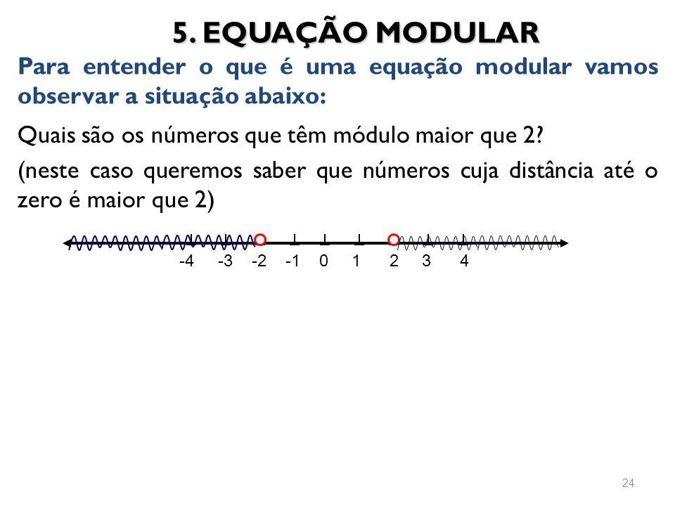 Quais são os números que têm módulo maior que 2? (neste caso queremos saber que números cuja distância até o zero é maior que 2) 5. EQUAÇÃO MODULAR Pa