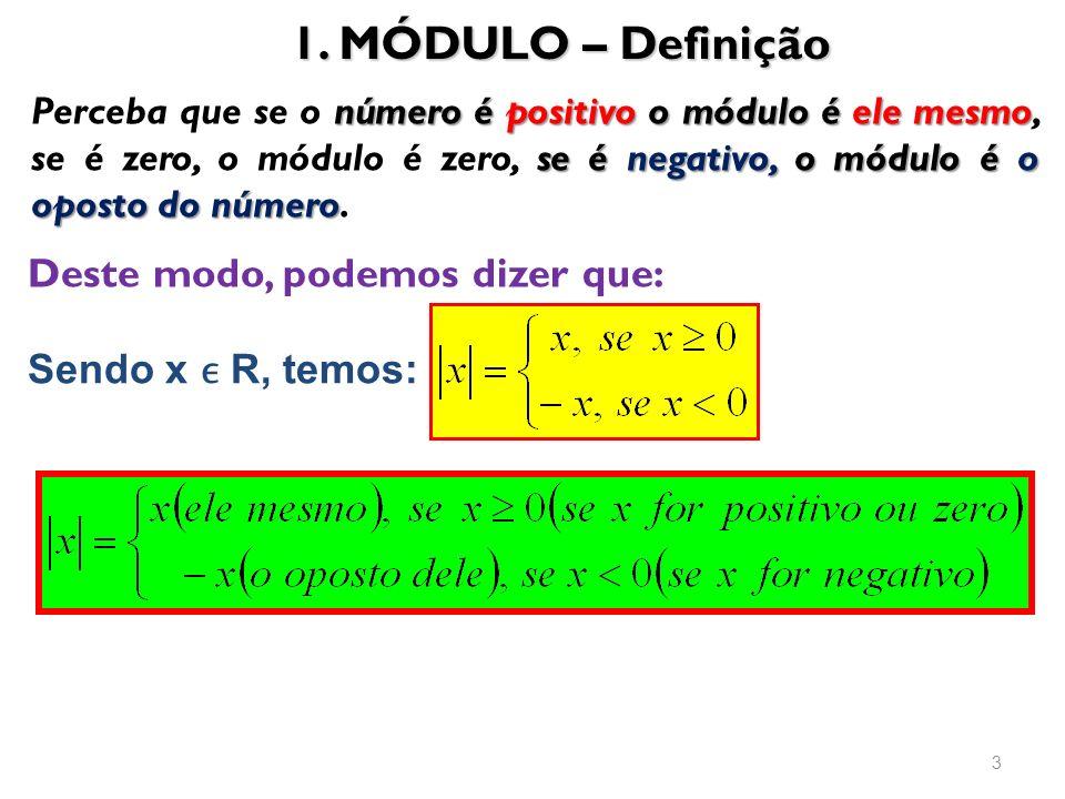 1. MÓDULO – Definição 3 Deste modo, podemos dizer que: número é positivo o módulo é ele mesmo se é negativo, o módulo é o oposto do número Perceba que