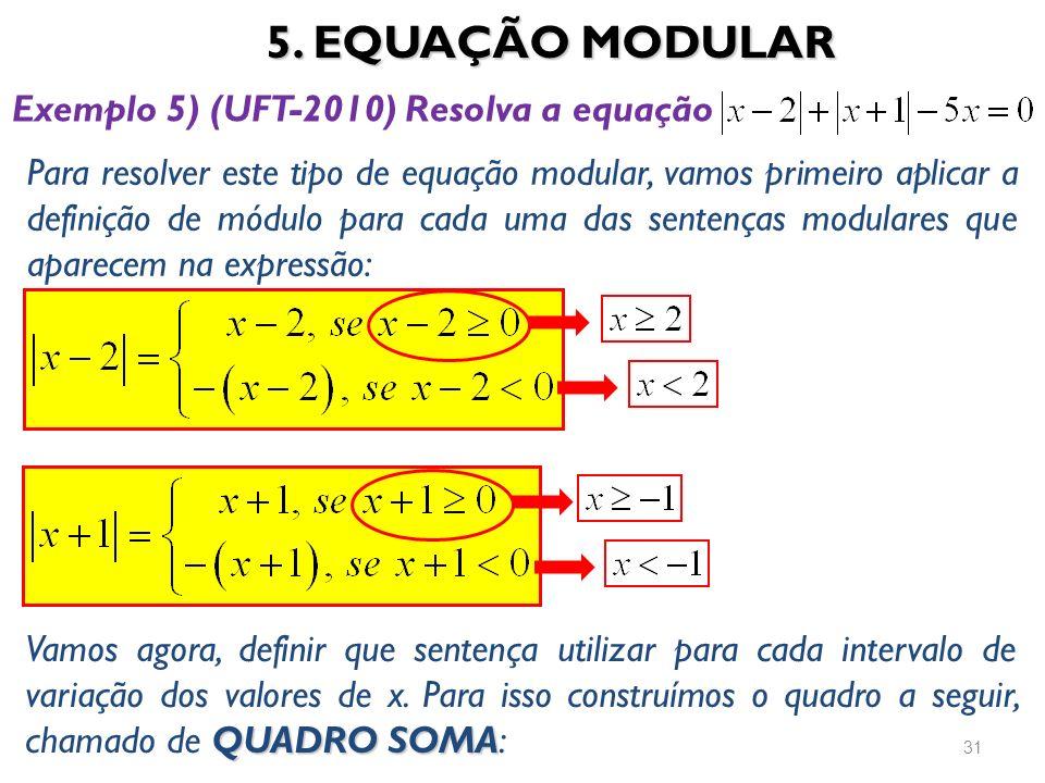 5. EQUAÇÃO MODULAR 31 Exemplo 5) (UFT-2010) Resolva a equação Para resolver este tipo de equação modular, vamos primeiro aplicar a definição de módulo