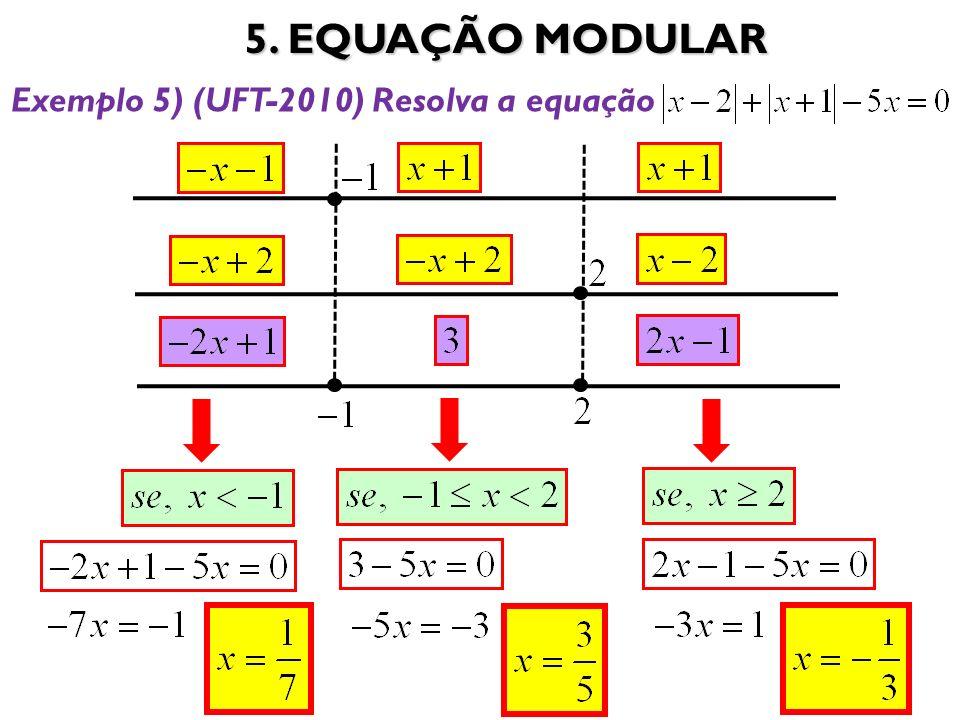 5. EQUAÇÃO MODULAR 32 Exemplo 5) (UFT-2010) Resolva a equação