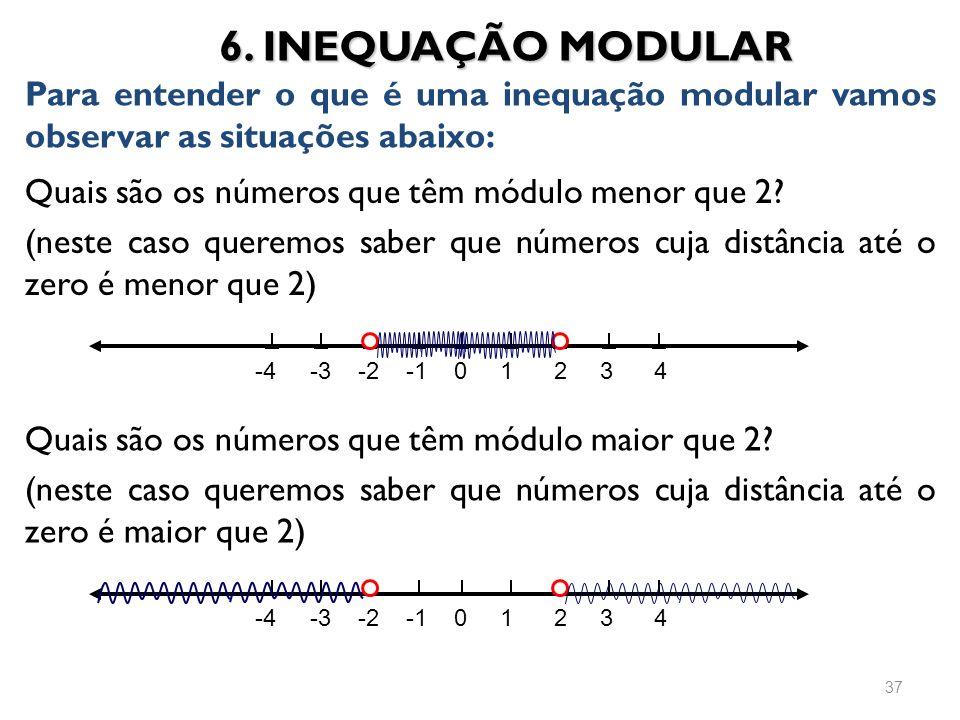 Quais são os números que têm módulo menor que 2? (neste caso queremos saber que números cuja distância até o zero é menor que 2) 6. INEQUAÇÃO MODULAR